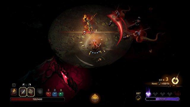 Schafft man es, einen Angriff im richtigen Moment zu parieren, dann erleidet der Gegner kurz mehr Schaden. Brennende Gegner fungieren übrigens auch als Lichtquelle.