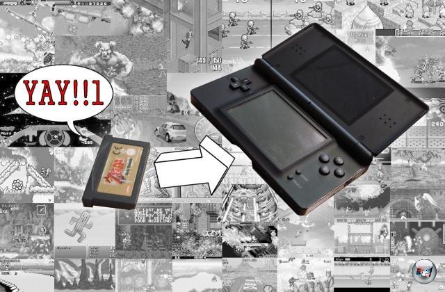 Wieso rede ich eigentlich die ganze Zeit in der Vergangenheitsform? Den GBA gibt's doch noch zu kaufen, die Spiele stehen ebenso noch im Laden! Stimmt schon, aber leider hat das Präteritum schon seine Richtigkeit: Neue Spiele werden nicht mehr entwickelt, ein Produktionsende ist abzusehen - auf den offiziellen Nintendo-Seiten ist der GBA nicht mal mehr offensichtlich gelistet, man muss schon wühlen, um Infos zu finden. Aber ein Trost bleibt: Der GBA-Schacht des DS! In dem lebt der GBA für alle Zeiten weiter. Jedenfalls so lange, bis Nintendo den wegrationalisiert... 1805168