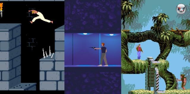 Ein Ableger der Bildschirmumschalter war das Jump-n-Run-n-Action-Adventure, wie ich es jetzt mal mangels eines besseren Namens nenne. Hier gab es ebenfalls kein flüssiges Scrolling, und das Spielprinzip beschränkte sich nicht nur auf das Springrennen, sondern erweiterte es um Puzzle- und Adventure-Elemente. Im Falle von Spielen wie Prince of Persia, Another World oder Flashback kam außerdem noch eine faszinierende Grafik dazu, gerade im Bereich der Animationen. 2100083
