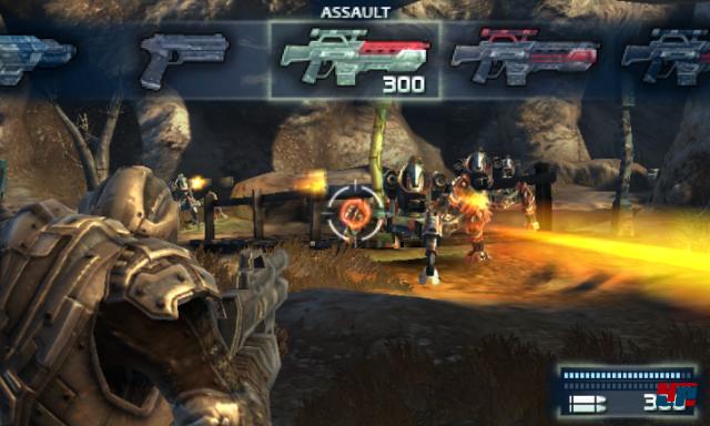 Das Waffenarsenal mit Sturmgewehr, Alienknarre, Granatwerfer & Co. präsentiert sich ähnlich ideenlos wie der Rest des Spiels.