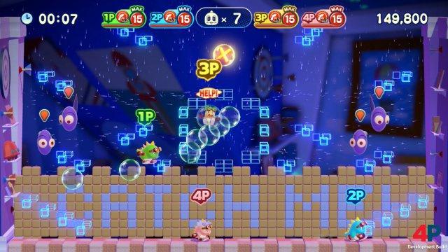 Rette mich: Koop-Spieler können wie bei Mario und Rayman aus ihrer Blase gerettet werden.