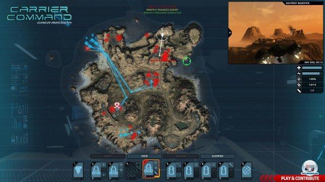 Strategiekarte: Mit je vier Boden- und Lufteinheiten kann der Angriff geplant werden - sehr übersichtlich.