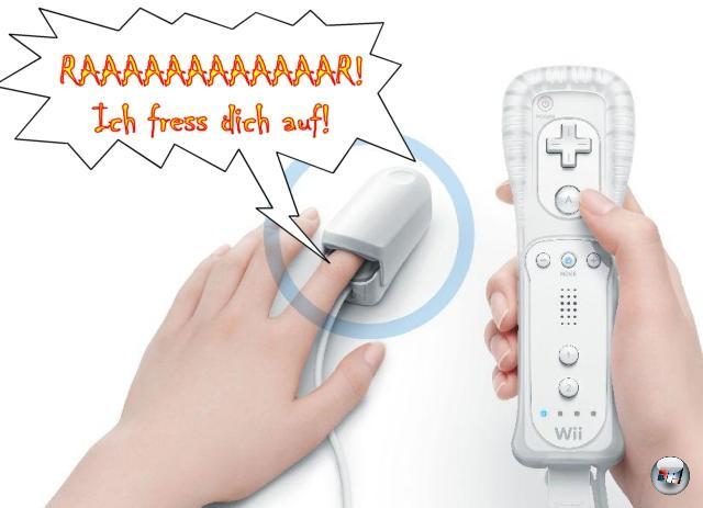 <b>Der Wii Vitality Sensor</b><br><br>Der Fragezeichen-Verursacher Nummer Eins auf der E3. Hä, was soll das denn sein? Man steckt seinen Finger rein, das Ding misst den Puls… und dann? Äh. Was? Man steuert Super Mario, indem man den Finger antippt? Das Wummern des Herzens sammelt automatisch nahe gelegene Pokemons ein? Man klemmt das Ding an Opa, um dauerhaft über seinen Gesundheitszustand informiert zu sein? Was kommt als nächstes, Nintendo? Das Wii-Piercing Set, um Sensoren durch Ohren, Bauchnabel und Zunge treiben zu können? Eine Wii-Penispumpe für verlängerten Spielspaß? Oder gleich die Wii lite: Ein Frisbee mit Nintendo-Logo drauf. Damit kann man ganz tolle Sachen machen. Frisbee spielen zum Beispiel. Draußen. 1962423