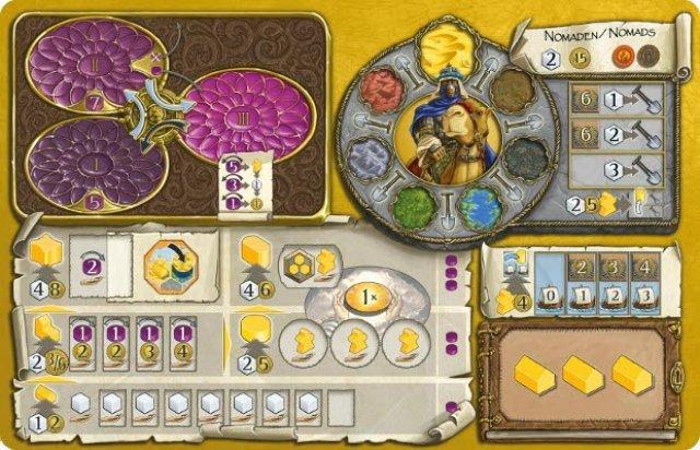 Hier das Spielertableau der Nomaden, die exklusiv drei Häuser zu Beginn errichten. Oben links der lila Machtkreislauf mit den drei Schalen, darunter die Gebäudeleisten für Häuser, Handelshäuser, Tempel, Heiligtümer und Festung.
