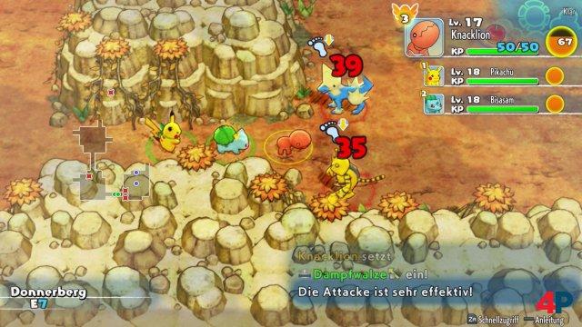 Knacklion, Pikachu und Bisasam erkunden ein Dungeon.