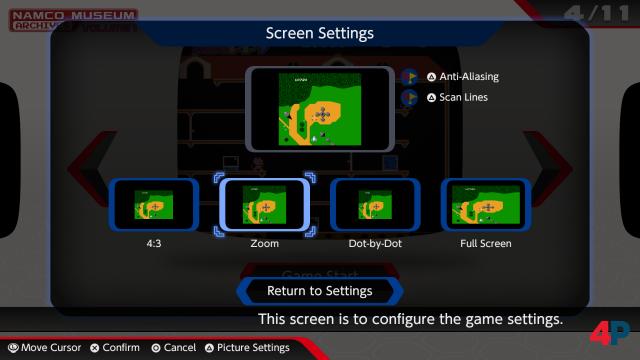 Vier Bildformat-Optionen plus Scanlines plus Anti-Aliasing werden angeboten. Auch während der Spiele kann on-the-fly durchprobiert werden.