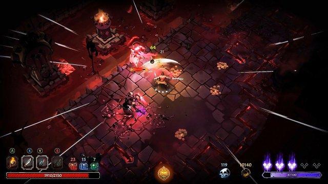 Der Verderbnisbalken rechts unten zeigt an, wann der Charakter den nächsten Fluch erleidet. Ob man im Licht oder der Dunkelheit steht, zeigt das Symbol unten in der Mitte.