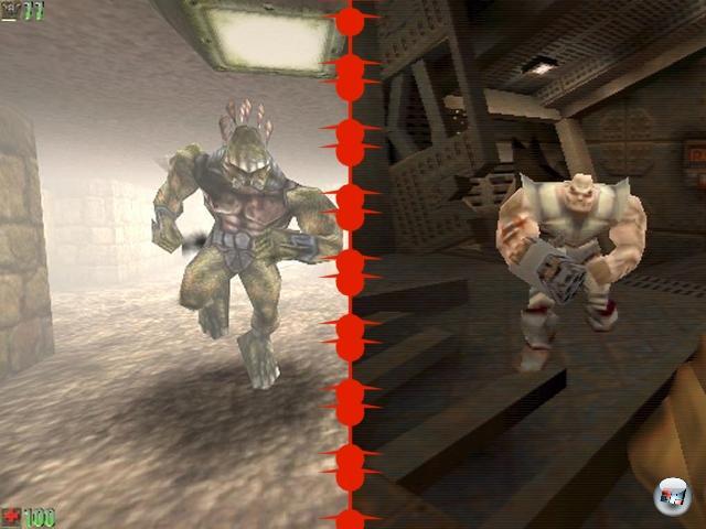<b>Unreal vs. Quake 2:</b><br><br>Anderthalb Jahre nach dem Erdbeben, das Quake in der Shooterszene auslöste, veröffentlichte id Software den Nachfolger - und die Erschütterung war noch in Proxima Centauri zu spüren: Technisch war das Spiel wieder mal jedem Konkurrenten weit voraus, außerdem war id für die Überraschung gut, dass es tatsächlich mal eine Art Story gab, mit Renderfilmen, Ingame-Nachrichten und mehr - hossa! Nicht zu vergessen der wieder mal völlig brillante Mehrspielermodus, den schwärmende Naturen bis heute als besten aller Zeiten besingen. Sollten diese Superlative je getoppt werden? Immerhin hat?s ein halbes Jahr gedauert: Unreal bot einen anderen, bunteren Grafikansatz, der aber mindestens ebenso beeindrucken konnte - nicht nur Besitzer von 3D-Karten, sondern auch jene, die sich die heißen Teile nicht leisten konnten! Auch Unreal bot jede Menge Erzählung, gute Schockeffekte, beeindruckende Texturen und spektakuläre Außenlevels; etwas, mit dem id-Spiele seit jeher Schwierigkeiten hatten. Davon abgesehen entzündete sich im Licht der Entwicklung beider Spieler ein im Nachhinein wunderbar bizarrer Streit einiger Entwickler darüber, ob wer wo was abgekupfert hätte - denn beide Spiele enthielten im Multiplayermodus sowohl einen Typen mit Glatze als auch ein Mädel mit Pferdeschwanz... 1906508