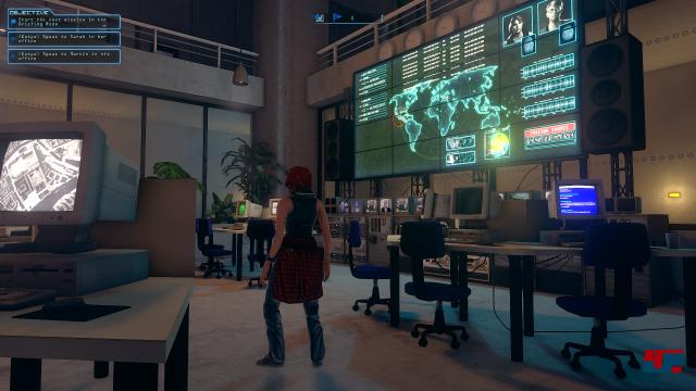 Spätestens der regelmäßige Besuch im Hauptquartier zitiert deutlich das ursprüngliche Deus Ex.