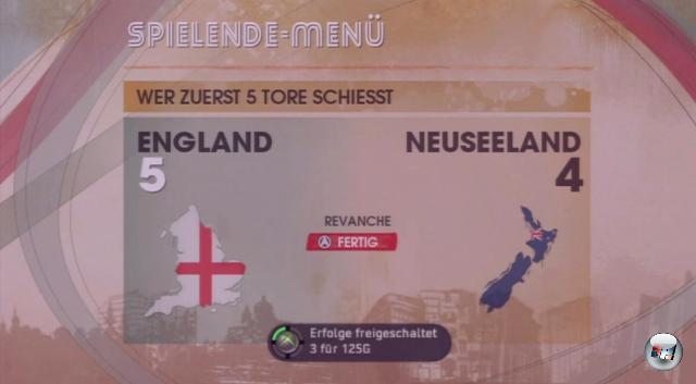 <b>FIFA Street 3</b><br><br>Wählt in den Optionen den einfachen Schwierigkeitsgrad und dann im Hauptmenü »Jetzt Spielen«. Wählt England als euer Team und »Crouch« in den Kader; als Gegner tut's eine Lusche wie Neuseeland. Beschränkt das Spiel auf ein paar Minuten und legt los. Folgendes gibt schnelle Punkte: Schießt mit Crouch ein Hattrick-Tor (zuerst Y, dann B - gibt 50 »Hattrick-Held«-Punkte), idealerweise im »Gamebreaker« (25) - und lasst dann dem Gegner die Gelegenheit, seinen eigenen Gamebreaker zu starten. Während dieser runtertickert, schnappt ihr euch den Ball und schmettert ihn ins feindliche Tor - schon wieder 25 Punkte mehr! Mensch, was soll man mit all dem Reichtum nur anfangen? Achja: Die Achievements werden hier nicht direkt beim Erreichen angezeigt, sondern erst nach Spielende. Also keine Panik. 1783468