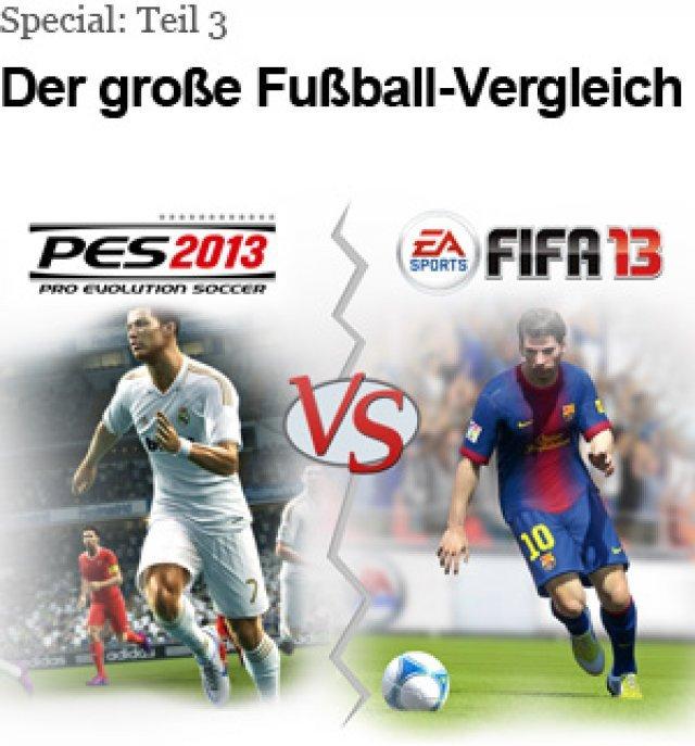 Wir haben FIFA 13 und PES 2013 in vier großen Bereichen verglichen.