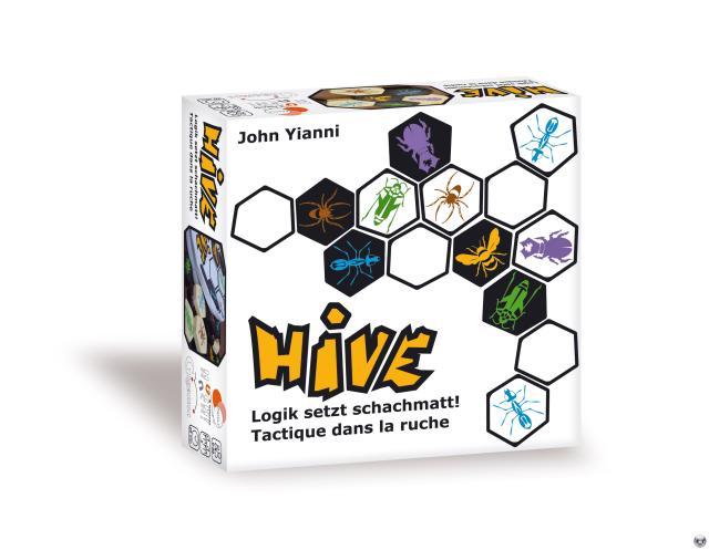 Hive ist ein rundenbasiertes Strategiespiel für zwei Personen. Eine Partie dauert an die zwanzig Minuten; der Preis liegt zwischen 15 und 20 Euro.