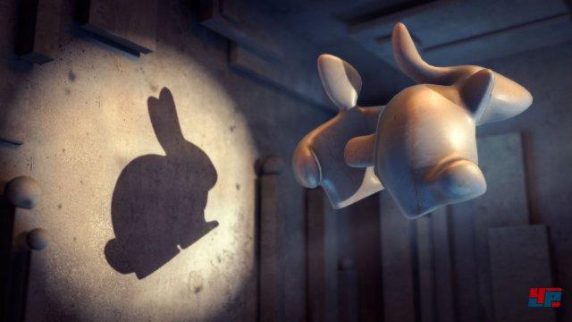 Endlich: Der Hase an der Wand!Man kann 3D-Objekte einzeln mit dem Finger rotieren lassen, so dass sich ganz andere schwarze Silhouetten auf der Leinwand zeigen.