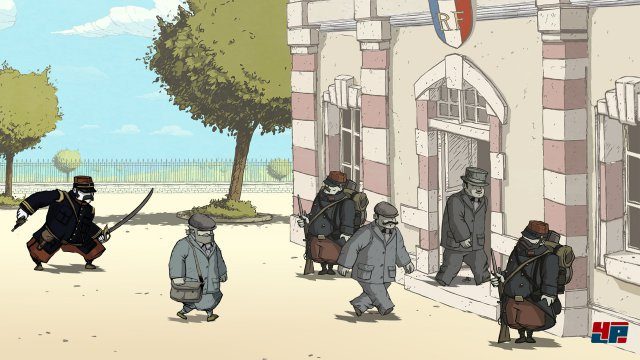 Das Spiel beginnt mit der Einberufung: Der Vater auf Seiten der Franzosen, der Schwiergersohn auf Seiten der Deutschen.