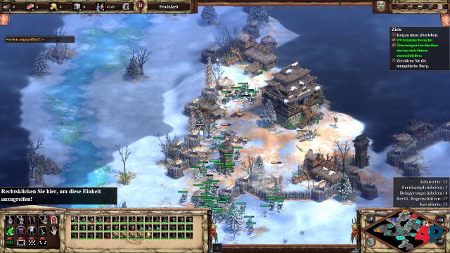 Die computergesteuerten Gegner patrouillieren lieber (rechts an der Burg), anstatt anzugreifen.