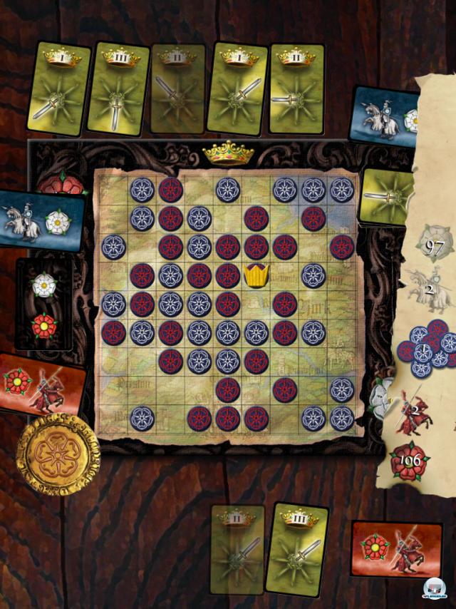 Das umkämpfte Spielfeld gegen Ende einer Partie - zum Glück wird alles automatisch berechnet.