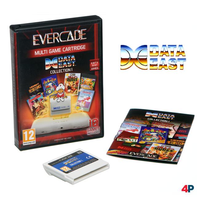 Das bekommt man für 17,99 Euro: Packung, Modul, farbige Anleitung - hier am Beispiel der Data East Collection 1.