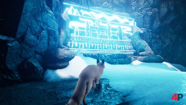 Die spärliche Mythologie des Spiels wird wie in Journey durch Wandmalereien vermittelt - die weiße Fellfarbe des Fuchses lässt sich freischalten.