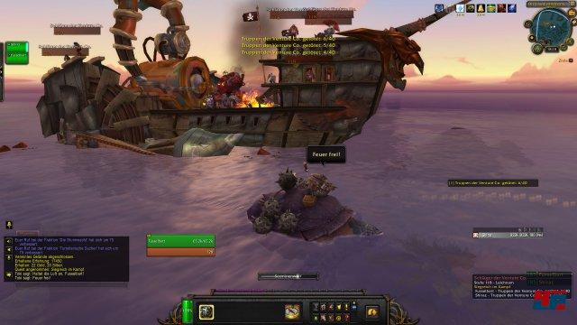 Gelegentliche Fahrzeugquests lockern den Questalltag auf. Hier wird ein Schiff von Venture Co. bombardiert.