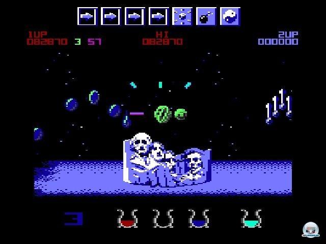 <b>Wizball</b><br><br> Ebenfalls äußerst kreativ war Wizball (1987) von Sensible Software. Mathias schwört heute noch darauf: Zauberer Wiz muss ähnlich wie in deBlob der grauen Welt die Farbe zurückbringen und vermischt das Prinzip mit einem Shooter und Extrawaffen. Der bärtige Magier ist in einer Kugel unterwegs; die als Satellit fungierende Katze Nifta wird ebenfalls von ihm oder von einem zweiten Mitspieler gesteuert. Innovativ waren auch der Rätsel-Shooter Paradroid und das erstaunlich gut gealterte Space Taxi. In letzterem gaben Passagiere sogar kratzige Sprachsamples von sich: