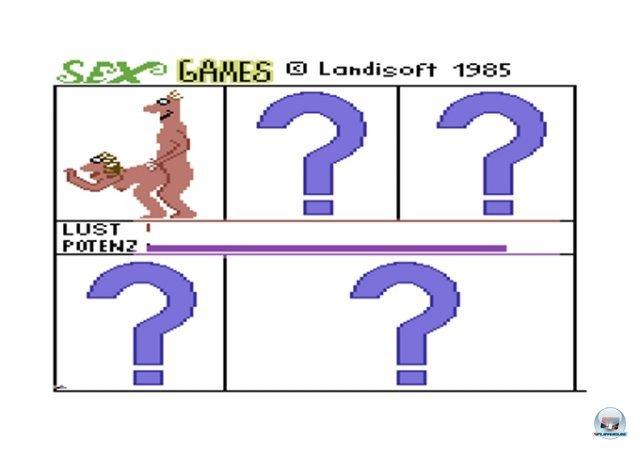 <b>Sex Games</b><br><br> Für Kudos auf dem Schulhof und Ärger mit den Eltern sorgten auch seichte Erotik-Spiele wie Samantha Fox Strip Poker oder Harry der Fensterputzer. Im damals noch indizierten Sex Games (1985) von Landisoft musste man wie bei Summer Games mal schnell, mal rhythmisch am Joystick rütteln. Die fünf Stellungen erstreckten sich nur über einen einzigen Bildschirm. Das Spiel wurde von den beiden jungendlichen Entwicklern in zwei durchprogrammierten Nächten erschaffen. 2371862
