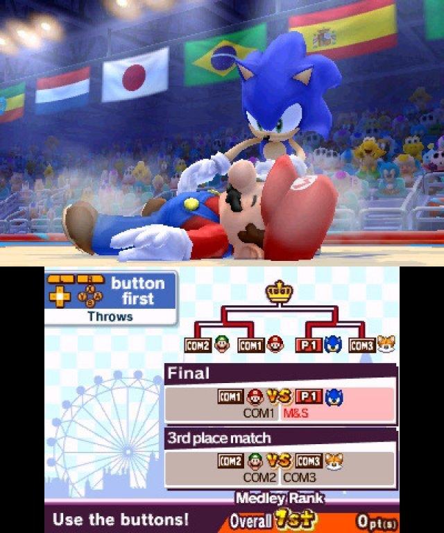 So gehört sich das! Sonic legt Mario auf die Matte - in Wirklichkeit sind die beiden aber selbstverständlich dicke Kumpels.