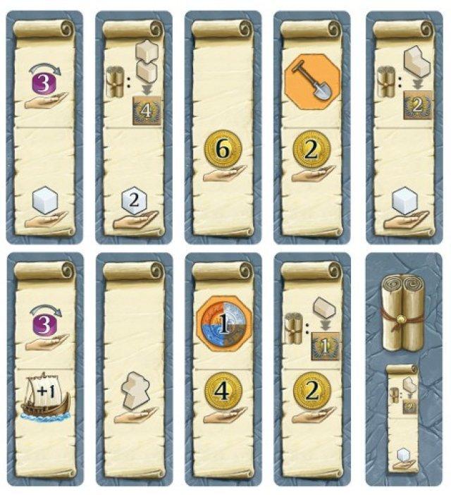 Der erste Spieler, der passt, darf sich eines der Bonusplättchen aussuchen - es gilt für eine Runde.