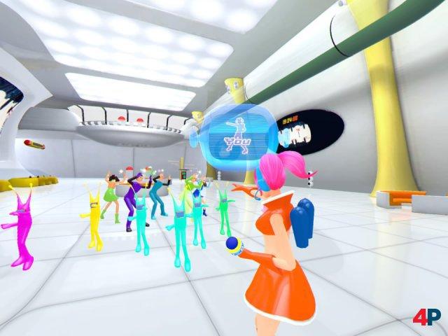 Zusammen mit Ulala rettet man die Welt, indem man die vorgegebenen Tanzbewegungen und Posen taktgenau nachmacht.