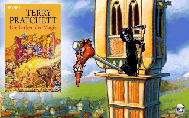 <br><br><b>Discworld</b> (Terry Pratchett, 1983)<br><br>Ähnlich wie Douglas Adams war und ist auch Terry Pratchett ein ziemlicher Geek - nach eigener Aussage verbringt er viel zuviel Zeit im Internet und mit Ego-Shootern, was ihn aber nicht daran hindert, Jahr für Jahr brillante Scheibenwelt-Romane unters Volk zu bringen. Bereits kurz nach der Veröffentlichung seines ersten Discworld-Romanes »The Colour of Magic« gab es ein gleichnamiges Textadventure, aber richtig gut wurde die Reihe erst mit den beiden Point-n-Click-Adventures (1995 bzw. 1996) sowie dem ungewöhnlichen »Discworld Noir« von 1999. 2056808
