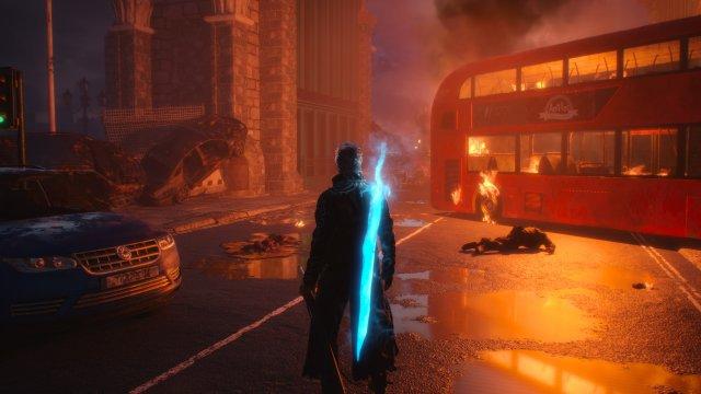 Im zweiten Level des Spiels lenken wir Neuzugang Vergil durch ein dämonenversuchtes Stadtszenario. (Bild: Xbox Series X)