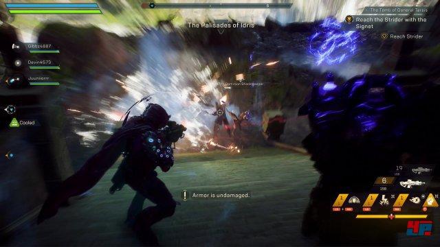 Während Anthem solo schnell seinen Reiz verliert, können die dynamischen Gefechte im Team durchaus unterhalten.