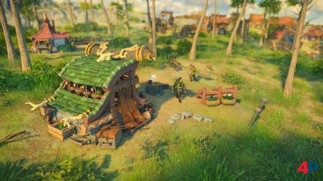 In der Nahansicht viele kleine Details und liebevoll animierte Siedler-Charaktere zu sehen - inkl. Slapstick-Einlagen.