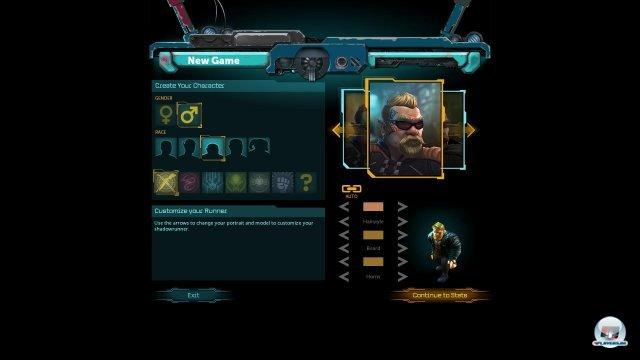 Zu Beginn erstellt man einen männlichen oder weiblichen Charakter: Schamane, Magier und Samurai erklären sich von selbst; Rigger wie dieser Zwerg hantieren mit Drohnen; Decker hacken sich u.a. in die virtuelle Matrix.