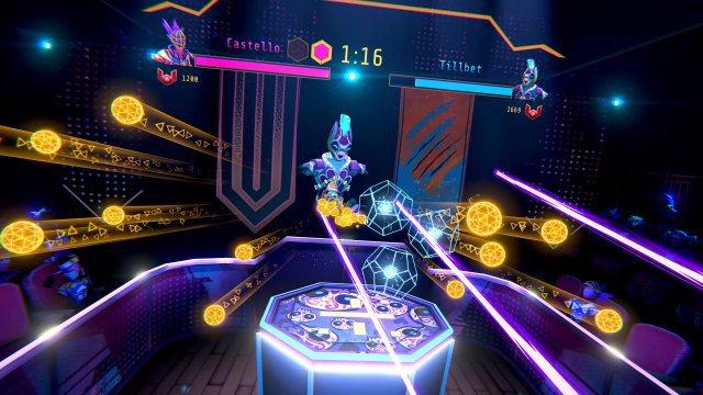 Die Sportler wirken etwas generisch, verströmen zusammen mit der glühenden Kulisse aber eine angenehme Cyber-Krieger-Atmosphäre, die u.a. an den Flipper Black Knight erinnert.