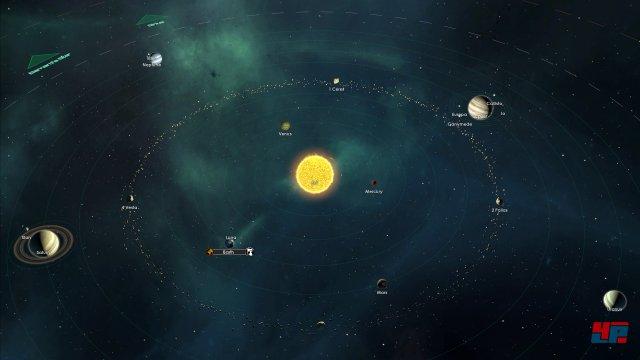 Die Nachbildung unseres Sonnensystems in Stellaris - inkl. einigen Monden.
