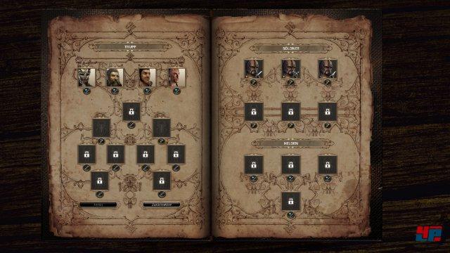 Vor der Schlacht können Helden und Söldner gewählt werden.