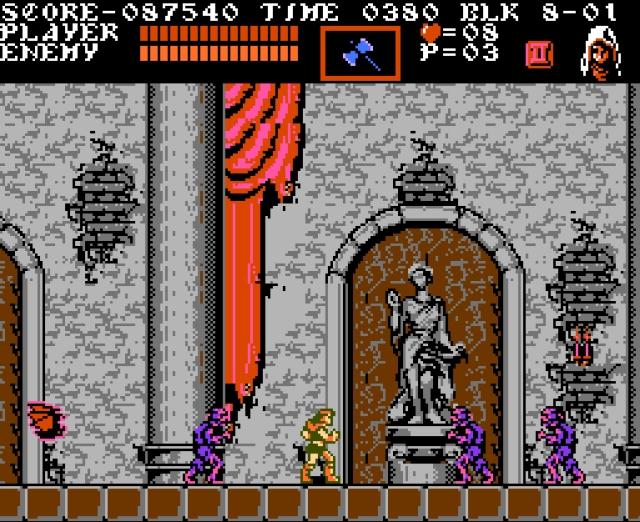 Während das erste NES-Spiel (sowie die drei Game Boy-Abenteuer) nach klassischem Jump-n-Run-Muster gestrickt waren, brach Konami dieses mit dem zweiten NES-Abenteuer bereits auf: »Castlevania 2: Simon's Quest« (1988) machte die Burg verzweigter, manche Bereiche ließen sich erst betreten, wenn man bestimmte Items oder Fertigkeiten besaß - ein Spielkonzept, das einige Jahre darauf auf der PlayStation zur Perfektion gebracht wurde. Aber dazu gleich mehr. Der dritte Teil (»Dracula's Curse, 1990) erlaubte erstmals die Wahl unter mehreren Figuren, was Einfluss auf den Spielverlauf hatte. Das sorgte in Kombination mit der glorreichen Präsentation dafür, dass der dritte Teil unter Fans bis heute als einer der besten gehandelt wird. 2164283
