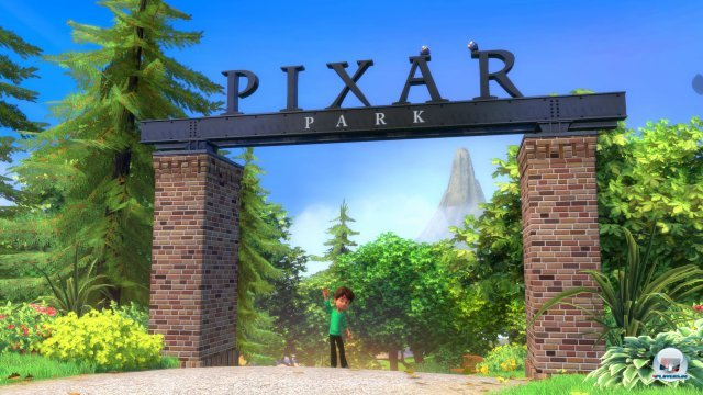 Willkommen im Pixar-Park. Hier gibt es zwar nicht so viel zu tun wie in Kinect Disneyland, jüngere Spieler werden dennoch Spaß haben.