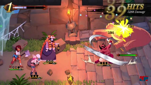 Die Kreise unter den Charakteren mit den Symbolen der Controller-Knöpfe zeigen an, dass diese Figur angreifen oder sich verteidigen kann. Ajna kann zum Beispiel zweimal zuschlagen, wenn man das Quadrat auf dem PS4-Controller drückt.