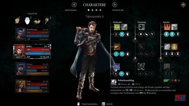 Fertigkeiten und Werte nach Maß: Die Entwicklung der Charaktere liegt in Spielerhand.