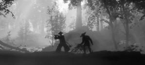Samurai-Kämpfe in Schwarz-Weiß-Kulisse