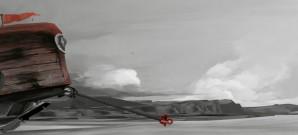 Roter Mantel auf Reisen