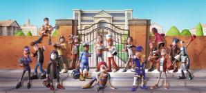 Theme Campus mit cartoonhaften Kurskapriolen